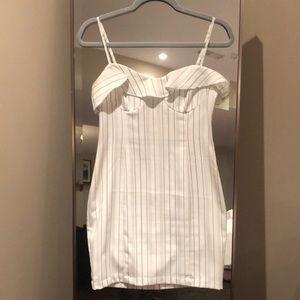 Pinstripe Bustier Mini Dress